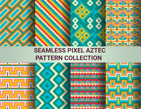 chevron patterns: Collection of bright seamless pixel patterns in tribal style. Aztec geometric triangle and chevron patterns. Pantone colors. Illustration
