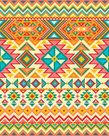 tribal: Bright seamless background with pixel pattern in aztec geometric tribal style. Vector illustration. Pantone colors. Stock Photo