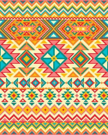 tribales: De fondo sin fisuras con el patrón de píxel brillante en el estilo tribal geométrico azteca. Ilustración del vector. Colores Pantone. Foto de archivo