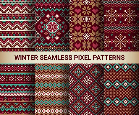 isle: Collection of pixel bright seamless patterns with stylized winter Nordic ornament. Vector illustration.