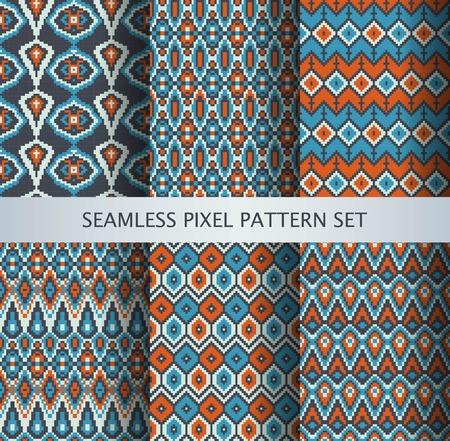 Colección de píxeles de colores patrones sin fisuras con ornamento Groenlandia estilizada. Ilustración del vector.