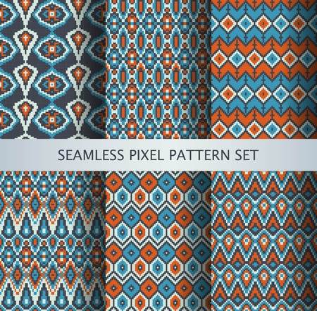fabric pattern: Collection of pixel colorful seamless patterns with stylized Greenland national ornament. Vector illustration. Illustration
