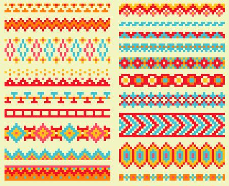 chevron patterns: Collection of bright pixel brushes in tribal style. Aztec geometric triangle and chevron patterns Illustration