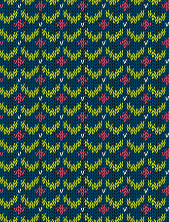 knit: Knitted bright seamless winter holiday pattern with stylized nordic sweater ornament. Clothing design. Vector illustration. Illustration