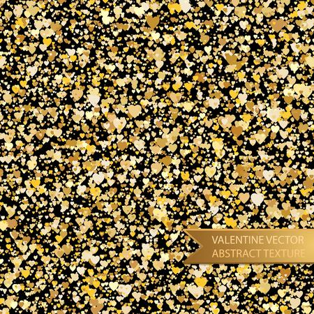glitter hearts: Vector seamless golden heart spray texture for Valentines Day.