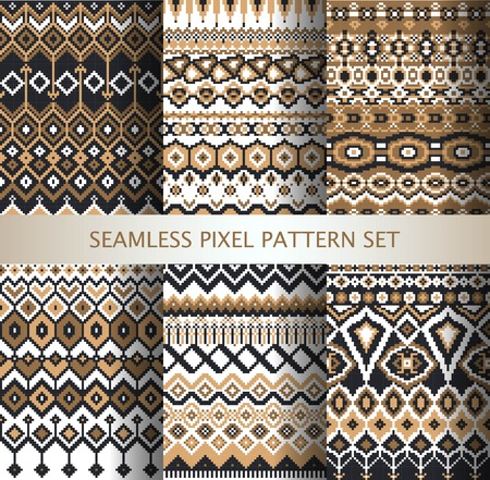 isle: Collection of pixel colorful seamless patterns with stylized Greenland national ornament. Vector illustration. Illustration