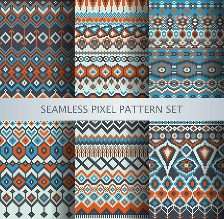 sueter: Colección de píxeles de colores patrones sin fisuras con ornamento Groenlandia estilizada. Ilustración del vector.