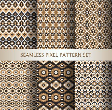 national: Colección de píxeles de colores patrones sin fisuras con ornamento Groenlandia estilizada. Ilustración del vector.