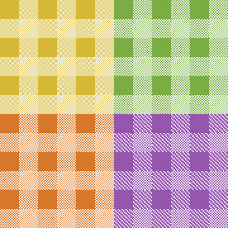 textile  texture: Set of colorful pixel gingham seamless patterns. Vector illustration.