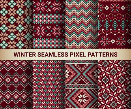 Collection de pixels brillants modèles sans couture avec l'hiver stylisé ornement nordique. Vector illustration.