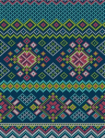 handicrafts: Knitted bright seamless winter holiday pattern with stylized nordic sweater ornament. Clothing design. Vector illustration. Illustration
