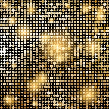 Mosaico brillante de oro en estilo bola de discoteca. Fondo abstracto de vector.