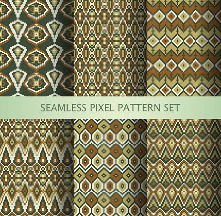 fair isle: Collection of pixel colorful seamless patterns with stylized Greenland national ornament. Vector illustration. Illustration
