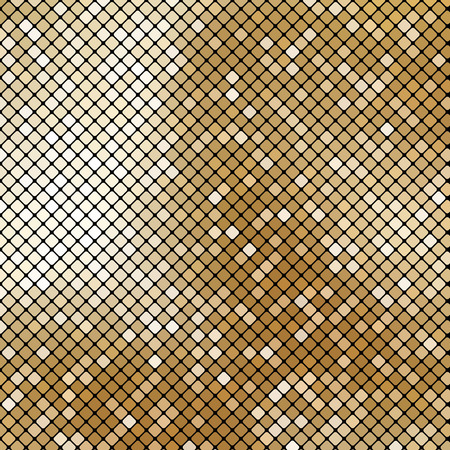 Golden shiny mosaic in disco ball style. Vector abstract background.