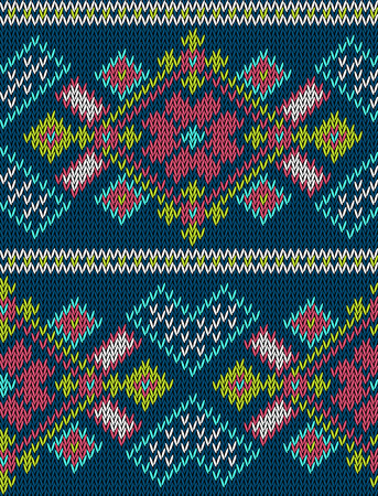 isle: Knitted bright seamless winter holiday pattern with stylized nordic sweater ornament. Clothing design. Vector illustration. Illustration