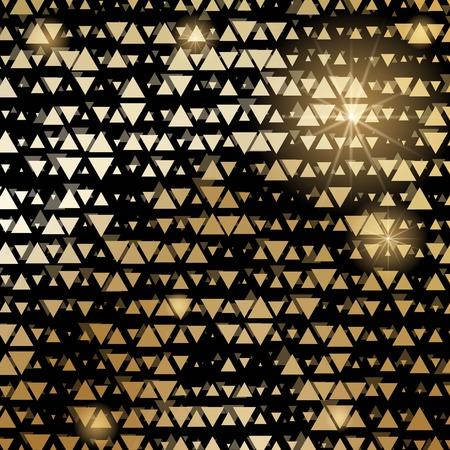 Golden shiny triangle mosaic on black. Vector abstract background.