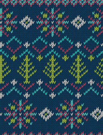 winter stylized: Knitted bright seamless winter holiday pattern with stylized nordic sweater ornament. Clothing design. Vector illustration. Illustration