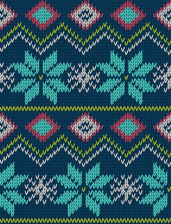 sueter: patrón transparente brillante hecha punto con el ornamento de vacaciones de invierno nórdico suéter estilizada. diseño de la ropa. Ilustración del vector.