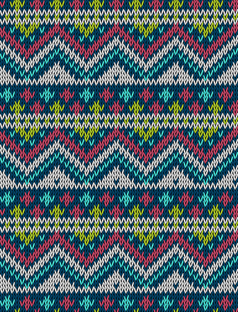 winter clothing: Knitted bright seamless winter holiday pattern with stylized nordic sweater ornament. Clothing design. Vector illustration. Illustration