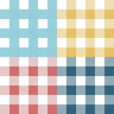 fabric texture: Set of colorful pixel gingham seamless patterns. Vector illustration.