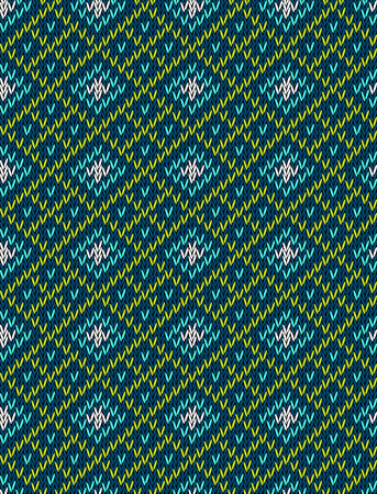 isles: Knitted bright seamless winter holiday pattern with stylized nordic sweater ornament. Clothing design. Vector illustration. Illustration