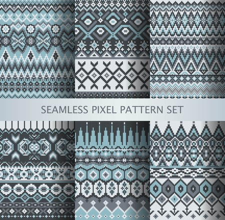 isle: Collection of pixel gray seamless patterns with stylized Greenland national ornament. Vector illustration.
