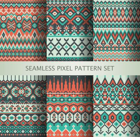 textile fabrics: Collection of pixel colorful seamless patterns with stylized Greenland national ornament. Vector illustration. Illustration