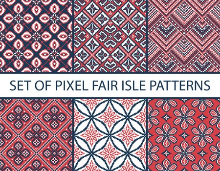 isle: Collection of pixel retro seamless patterns with stylized fair isle ornament. Vector illustration. Illustration
