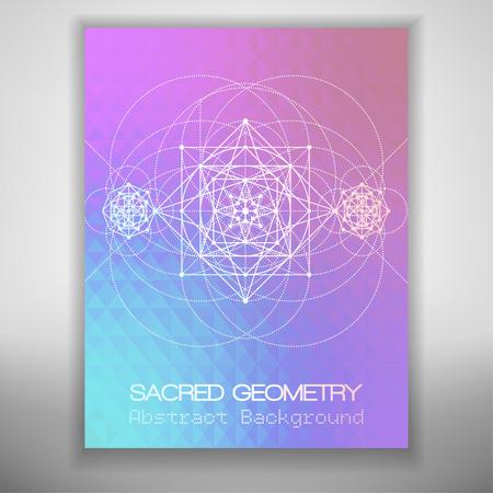 modello di brochure astratto con disegno geometria sacra su sfondo geometrico colorato, illustrazione vettoriale.