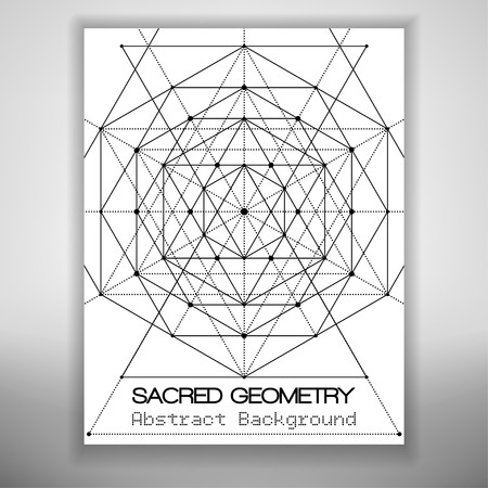 background design: Abstract brochure template with sacred geometry drawing, Vector illustration.