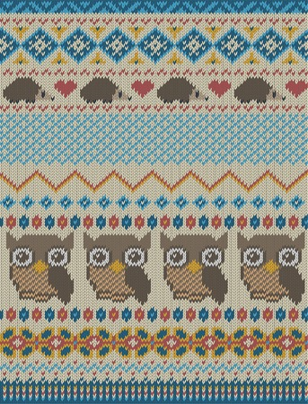 isle: Knitted bright seamless winter pattern with stylized owls and hedgehogs in fair isle style. Vector illustration. Illustration