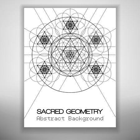 spiritual meditation creation: Abstract brochure template with sacred geometry drawing, Vector illustration.