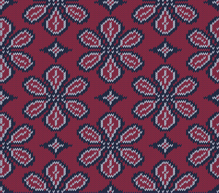 isle: Knitted background in Fair Isle style in three colors. Seamless sweater pattern. Vector illustration. Illustration