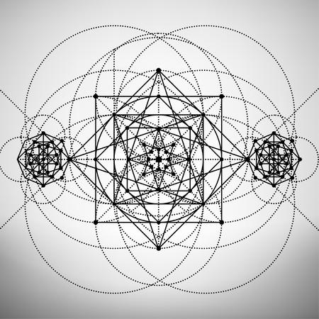 Resumen plantilla de folleto con el dibujo de la geometría sagrada, la ilustración vectorial.