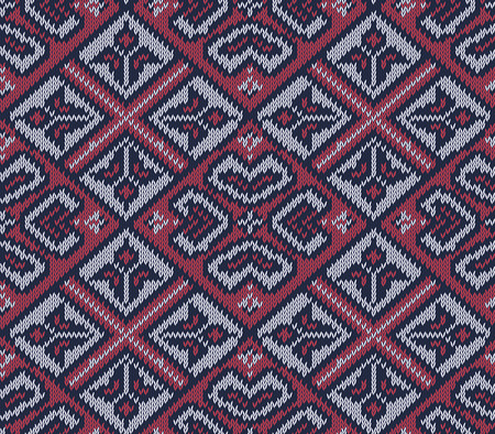 christmas plaid: Knitted background in Fair Isle style in three colors. Seamless sweater pattern. Vector illustration. Illustration