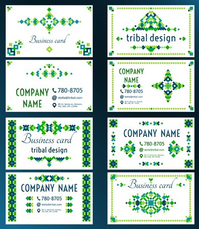modern design: Set of cards with bright tribal geometric ornament. Vector background. Oriental motifs. Modern design elements with text template.