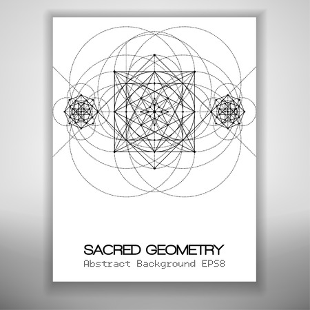 transmutation: Abstract brochure template with sacred geometry drawing, Vector illustration.