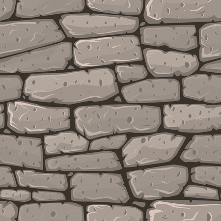 stone wall: Seamless cartoon stone texture. Vector illustration.
