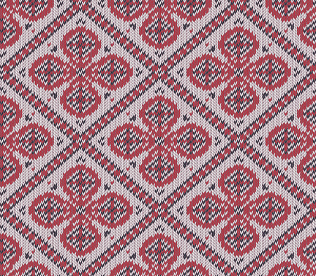 fair isle: Knitted background in Fair Isle style in three colors. Seamless sweater pattern. Vector illustration. Illustration