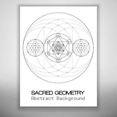 bstract: bstract brochure template with sacred geometry drawing, Metatrons Cube and hexagrammas in circles. Vector illustration.