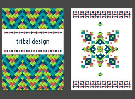 simple frame: Vertical card with bright tribal geometric ornament. Vector background. Oriental motifs. Modern design elements with text template. Illustration