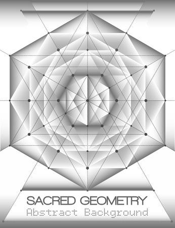 spiritual meditation creation: Abstract brochure template with sacred geometry, Monochrome volume shading. Vector illustration.