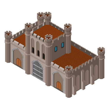 fortified: Isometric icon of medieval stone gate. Vector illustration.