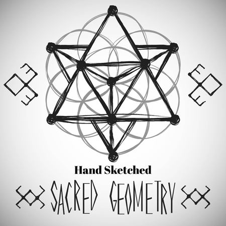手で抽象的な背景は、神聖な幾何学の図面をスケッチしました。部族スタイル。ベクトルの図。