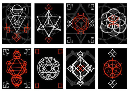 illustration background: Set of cards with abstract hand sketched sacred geometry drawing. Tribal style. Vector illustration.