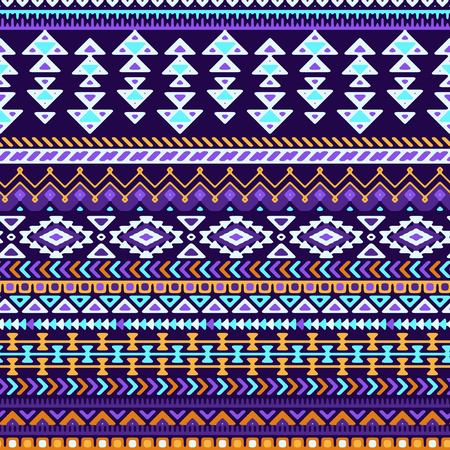 traditional pattern: Seamless stylized stripes pattern with ethnic and tribal ornament. Vector dark and bright colorful boho fashion illustration. Illustration
