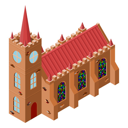 glass windows: Vector isometric medieval church with stained-glass windows. Building of church isolated on white background Illustration