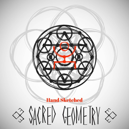 transmutation: Abstract background with hand sketched sacred geometry drawing. Tribal style. Vector illustration. Illustration