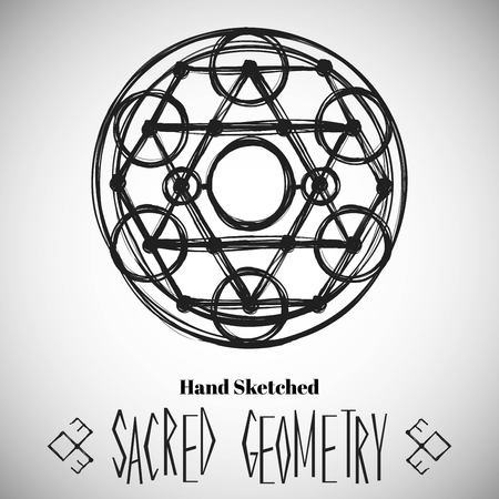 flyer background: Abstract background with hand sketched sacred geometry drawing. Tribal style. Vector illustration. Illustration