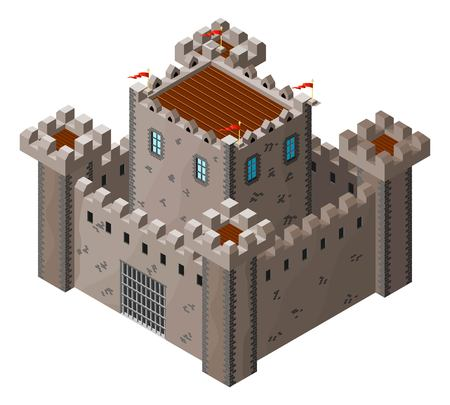 castello medievale: Icona isometrica del castello medievale in pietra. Illustrazione vettoriale.